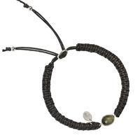 Bracelet Macramé et labradorite ovale - réglable 16 à 24cm