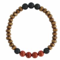 Bracelet H Bois, Jaspe Rouge et Pierre de lave Perles rondes 8 mm