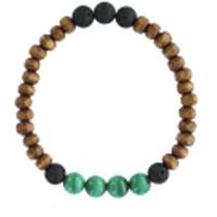 Bracelet H Bois, Malachite et Pierre de lave Perles rondes 8 mm