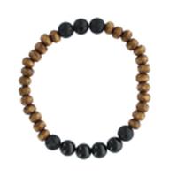 Bracelet H Bois, Tourmaline et Pierre de lave Perles rondes 8 mm