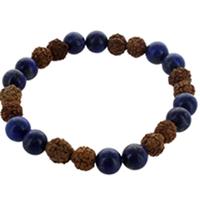Bracelet H Lapis Lazuli et Rudraksha Perles rondes 8 mm