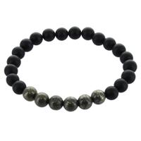 Bracelet H Onyx poli mat et Pyrite Perles rondes 8 mm