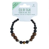 Bracelet H Pierre de lave, Bois, Oeil de Tigre, Hématite Perles rondes