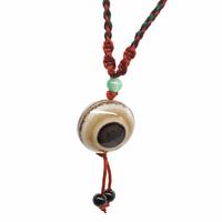 Collier Agate cyclope 25mm en amulette avec cordon