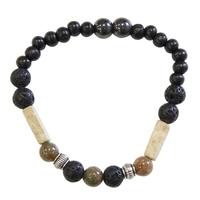 Bracelet H Pierre de lave, Jaspe, Bois, Hématite Perles rondes