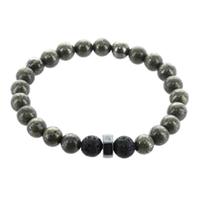 Bracelet H Pyrite et Pierre de lave Perles rondes 8 mm