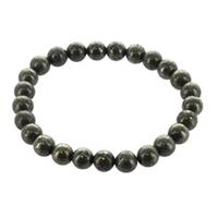 Bracelet H Pyrite Perles rondes 8 mm