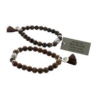 Bracelet Bois Pétrifié Perles rondes 8 mm Pompon et Lotus