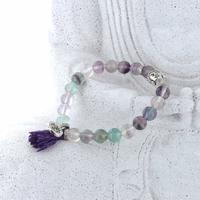 Bracelet Fluorite Perles rondes 8 mm Pompon et Lotus