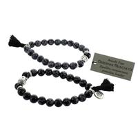 Bracelet Obsidienne Mouchetée Perles rondes 8 mm Pompon et Lotus