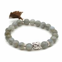Bracelet Labradorite Perles rondes 8 mm Pompon et Lotus