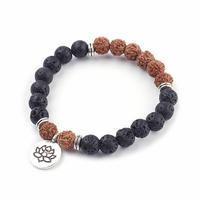 Bracelet pierre de lave et graine de rudraksha - Lotus