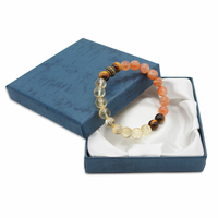 Bracelet sur mesure Citrine, Oeil de tigre, Pierre de soleil - 17,6cm
