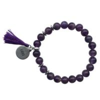 Bracelet Améthyste Perles rondes 8 mm Pompon et karma
