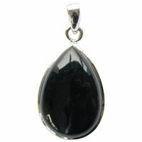 Pendentif Obsidienne Noire Argent 925 Forme goutte - GM