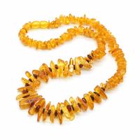 Collier Ambre Miel et perles d'ambre Brun - Longueur 45cm