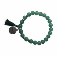 Bracelet Aventurine Verte Perles rondes 8 mm Pompon Breloque Namaste
