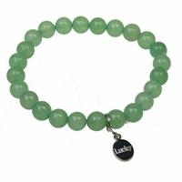 Bracelet Aventurine Verte Perles rondes 8 mm et Breloque chance