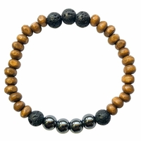Bracelet Bois, Hématite et Pierre de lave Perles rondes 8 mm