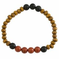 Bracelet Bois, Jaspe Rouge et Pierre de lave Perles rondes 8 mm