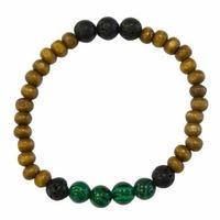 Bracelet Bois, Malachite et Pierre de lave Perles rondes 8 mm