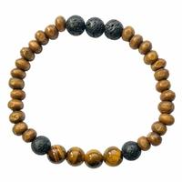 Bracelet Bois, Oeil de Tigre et Pierre de lave Perles rondes 8 mm