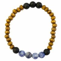 Bracelet Bois, Sodalite et Pierre de lave Perles rondes 8 mm
