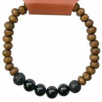 Bracelet Bois, Tourmaline et Pierre de lave Perles rondes 8 mm