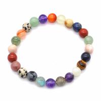 Bracelet multicolore en pierres naturelles boules 8mm