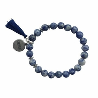 Bracelet Sodalite Perles rondes 8 mm Pompon Breloque Gratitude