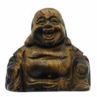 Bouddha Rieur assis 4 cm en Oeil de Tigre - Porte bonheur