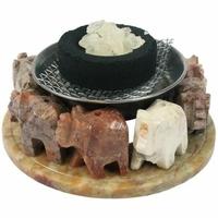 Brûle-encens pierre 8 éléphants