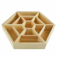 Boite de rangement en bois hexagonal - Diamètre 35cm