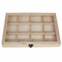 Boîte de rangement en épicéa 33,5x24cm avec couvercle en plastique.