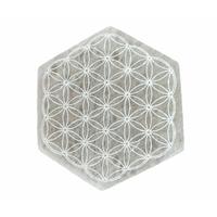 Dalle de purification en Sélénite Fleur de vie - Hexagonal de 10cm