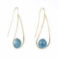 """Boucles d'oreilles Apatite bleue boules 8mm """"Larme"""""""