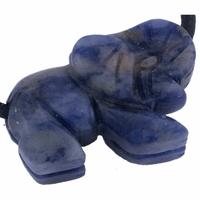 Pendentif sodalite en éléphant 25 mm avec cordon