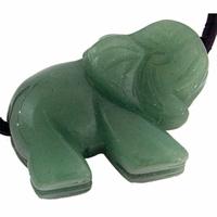 Pendentif aventurine en éléphant 25 mm avec cordon