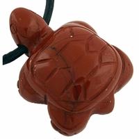 Pendentif jaspe rouge en tortue 25 mm avec cordon