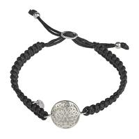 Bracelet Shamballa Macramé et Fleur de vie en argent 925