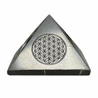 Pyramide en Shungite 50x50mm avec symbole Fleur de vie