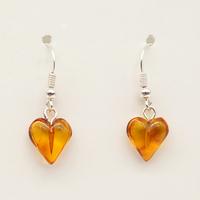 Boucles d'oreilles en Ambre en forme de coeur