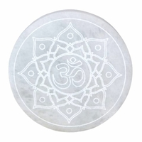 Dalle de purification en Sélénite - Symbole Lotus & Om de 14cm