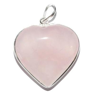 pendentif quartz rose en forme de coeur serti d 39 argent pierres argent pendentifs corps et ames. Black Bedroom Furniture Sets. Home Design Ideas