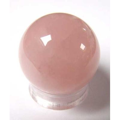 Boule de massage en Quartz rose de 3cm avec support plexi