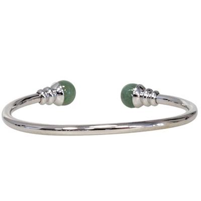Bracelet-magnétique-métal-argenté-jonc-finition-2-boules-Aventurine