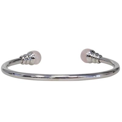 Bracelet-magnétique-métal-argenté-jonc-finition-2-boules-quartz-rose