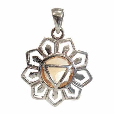 Médaille-Chakra-Manipura-Argent-925-avec-Citrine-Naturelle