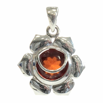 Médaille-Chakra-Svadhistana-Argent-925-avec-Hessonite-Naturelle