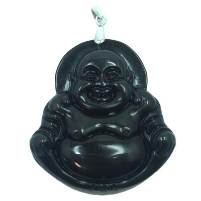 Pendentif-obsidienne-oeil-célèste-bouddha-argent-1